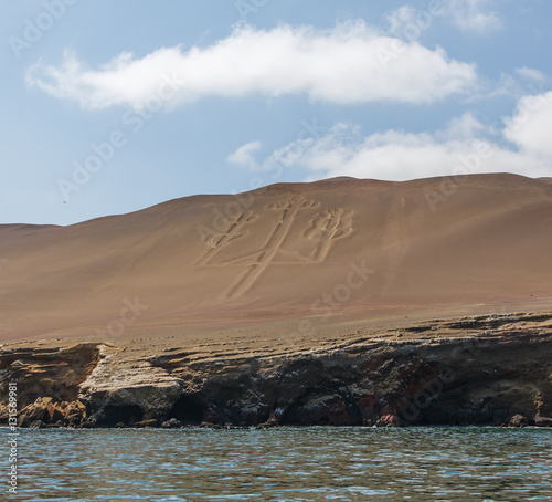 Foto op Aluminium Arctica Ancient large-scale geoglyph Candelabrum figure in Paracas national park. It is a designated UNESCO World Heritage Site - Peru, South America