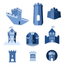 Castle Tower, Turret, Kingdom Fortress And Castle Gate Vector Icon
