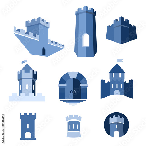 Castle tower, turret, kingdom fortress and castle gate vector icon Wall mural
