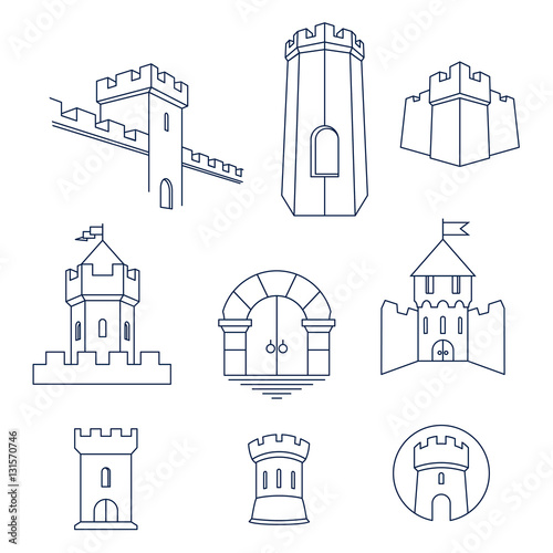 Castle tower, turret, kingdom fortress and castle gate vector line art icon set Wallpaper Mural