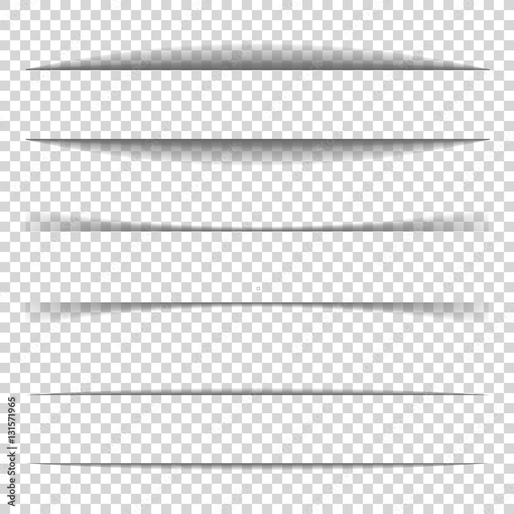Fototapeta Page divider. Transparent realistic paper shadow effect set. Web banner. Element for advertising and promotional message isolated on background. Vector illustration for your design, template and site.