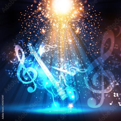 Foto op Canvas Licht, schaduw guitar, stage, light, spotlight, illustration easy all editable