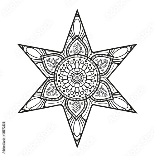 Photo  Vector illustration of black and white mandala star for coloring book, stella ma