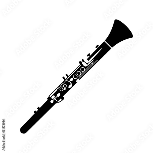 Clarinet icon on the white background. Poster Mural XXL