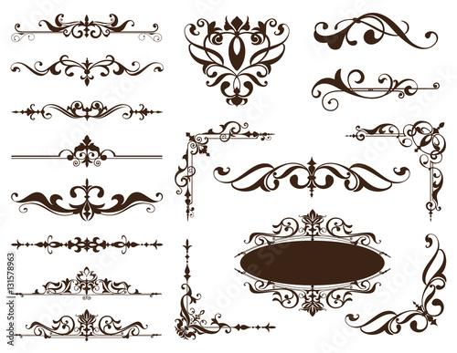 Fotografía  Vintage ornaments design elements floral curlicues white background curbs frame
