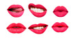 Leinwandbild Motiv Woman's lip set. Girl mouth close up with red lipstick makeup expressing different emotions. Mouth with teeth, smile, tongue isolated on white background. Collection in different expressions