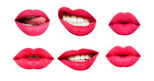 Woman's Lip Set. Girl Mouth Close Up With Red Lipstick Makeup Expressing Different Emotions. Mouth With Teeth, Smile, Tongue Isolated On White Background. Collection In Different Expressions