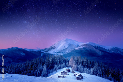 Foto op Plexiglas A small village in the snow-covered Carpathians