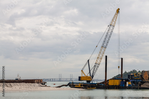 Fotografia, Obraz  Sand replenishment ship on shore for land reclamation