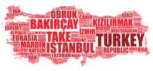 Turkey National Map Silhouette Vector Tag Cloud Illustration