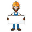 Handyman Holding Blank White Sign