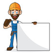 Handyman Holding Blank Sign Giving Thumb Up