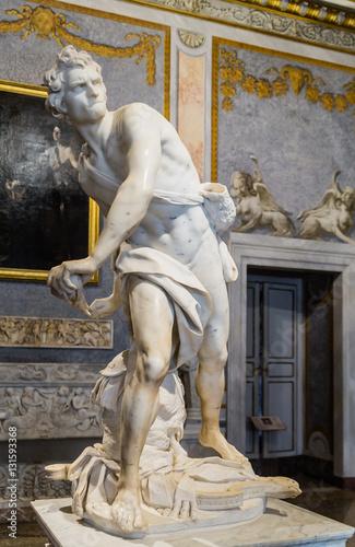 Marble sculpture David by Gian Lorenzo Bernini in Galleria Borghese Wallpaper Mural