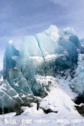 Poster Gletsjers This is the glacier Nordenskiöldbreen near Pyramiden, on the coast of Billefjord, Svalbard.