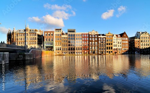 Valokuva  View of Amsterdam with houses built on  canals