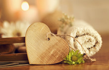 Wooden Heart With Towel, Flowers And Candles