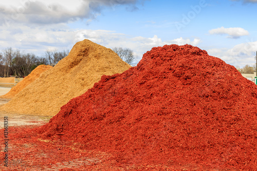 Cadres-photo bureau Rouge traffic Red Mulch or Wood Chip Mound Mound of black mulch or wood chips use for landscaping top ground material and accents.
