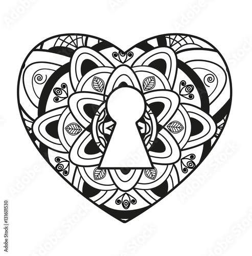 Vector Illustration Of Black And White Mandala Heart With Keyhole