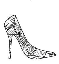 Vector Illustration Of A Black And White Lady Shoe Mandala For Coloring Book, Scarpa Da Donna Mandala In Bianco E Nero Da Colorare Vettoriale