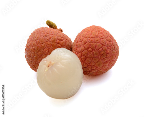 Fresh lychees fruit isolated on white background