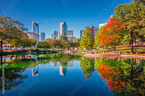 Aluminium Prints Autumn charlotte city skyline from marshall park autumn season with blu