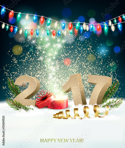 happy new year 2017 background with a magical gift box vector