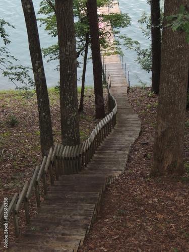 Foto op Canvas Weg in bos Stairway to the Lake