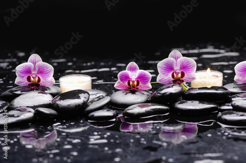 Staande foto Spa Pink orchid and white candle on black stones