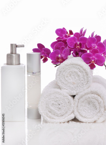 Spoed Foto op Canvas Spa Spa still life with bottle of herbal essenses