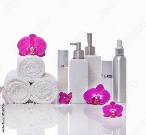 Spoed Foto op Canvas Spa Spa still life with bottle of herbal essenses with orchid