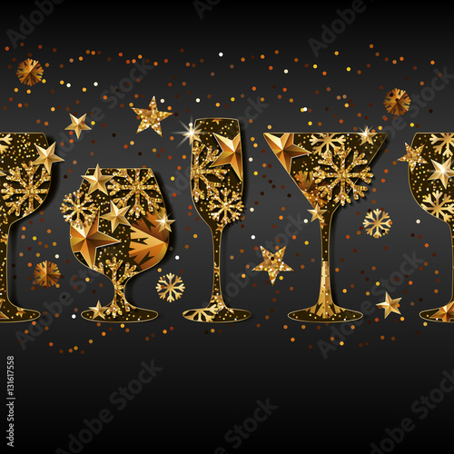 winter holiday vector black background with gold drinking glasses golden stars snowflakes in wine