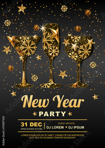 new year party vector poster design template with golden stars snowflakes in gold wine