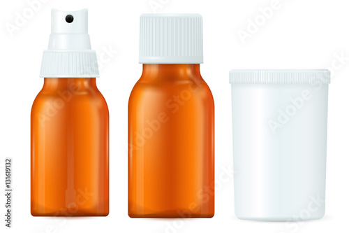 Medical bottles. Brown and white containers, spray bottle ...