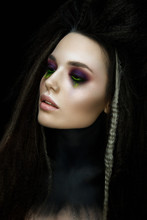Fashion Woman Portrait In Gothic Stile. Beautiful Witch With Glamour Make Up.