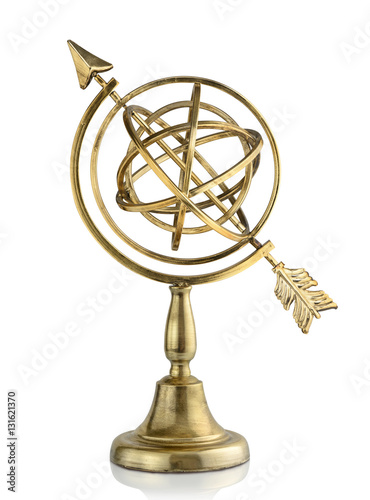 Vintage armillary sphere isolated on white background Canvas Print
