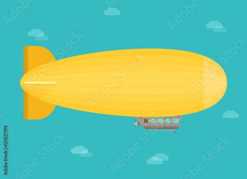 Zeppelin airship dirigible balloon flight, flat design Wallpaper Mural