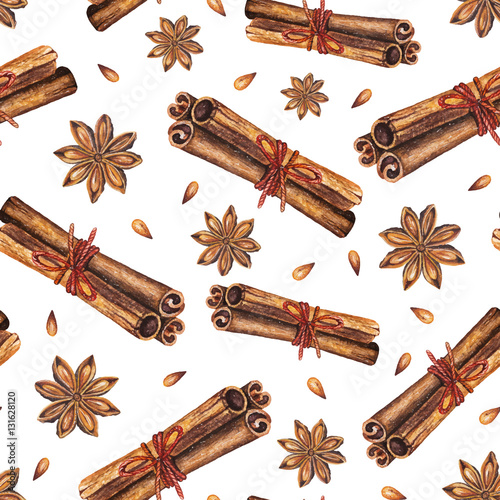 Fototapeta Watercolor seamless pattern with star anise and cinnamon sticks on a white background. Handdrawn watercolor illustration. Vector design by flyer, printing, card, menu of cafe, restaurant, fabric obraz
