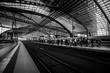 Bahnsteig in Berlin (schwarzweiss)