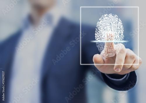 Fingerprint scan provides security access with biometrics identification Canvas Print