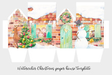 Watercolor Christmas Paper House Template. Winter Holiday Illustration With Snowman, Christmas Tree, Deer, Cat, Wreath And Happy Family