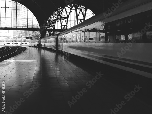 Poster Channel Train station, the train and the platform, black and white photo
