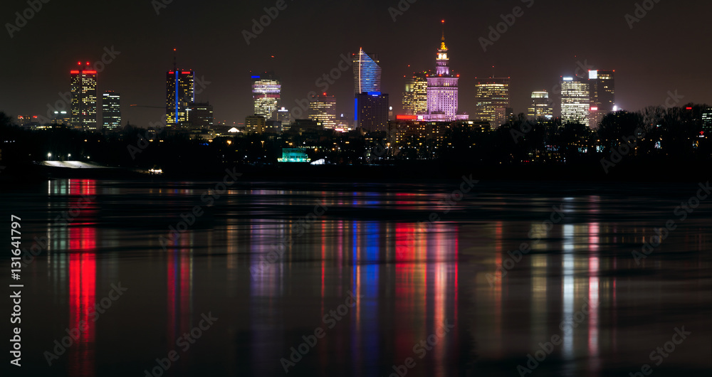 Fototapety, obrazy: Panorama Warszawy w nocy