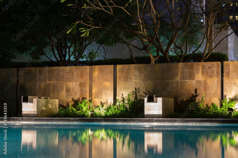 Fototapety, obrazy: Romantic evening mood lighting casting shadows onto a romantic s