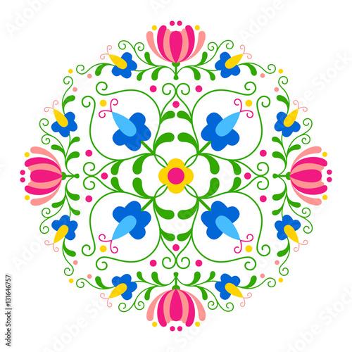 Obraz Kwiatowy wzór ludowy - fototapety do salonu