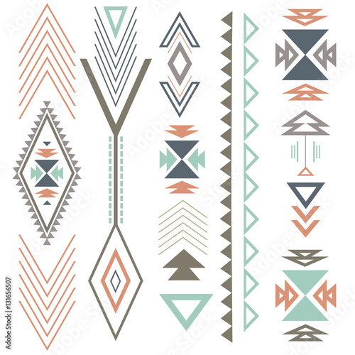 Deurstickers Boho Stijl Ethnic boho summer ornament with geometric design elements and arrows. In colour flat design.
