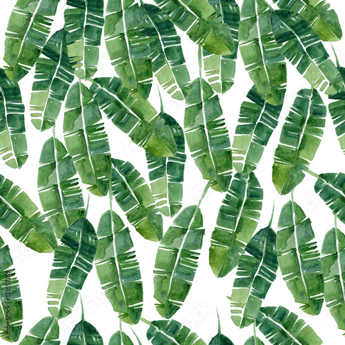 Foto-Vinylboden - Hand drawn watercolor summer  Tropical leaves,seamless pattern (von alena_rib)