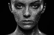 Portrait of beautiful woman with sparkles on her face. Girl with art make up in color light. Fashion model with colorful make-up. Black and White