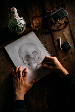 Skull Drawing Shoot From Above