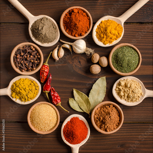 Various spices in bowls and mixing spoons  - Top view Canvas Print