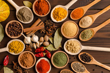 Colorful Spices, Dried Herbs, Cuisine, Top View